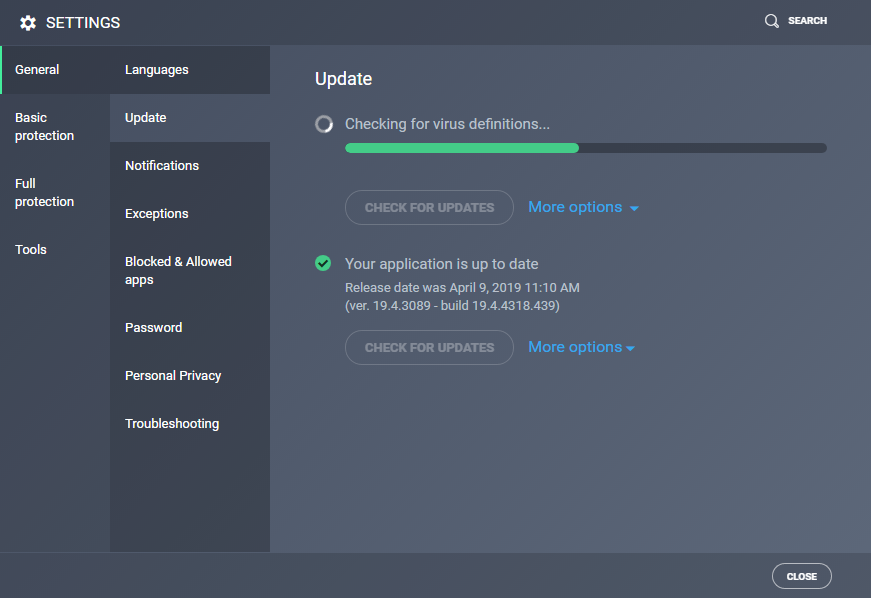 Updating AVG Antivirus Virus definitions and applica