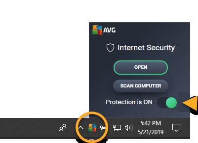 como desactivar avg antivirus free temporalmente